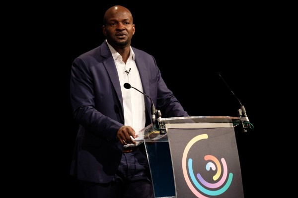 Viacom's Alex Okosi speaks at the 2017 CGMS